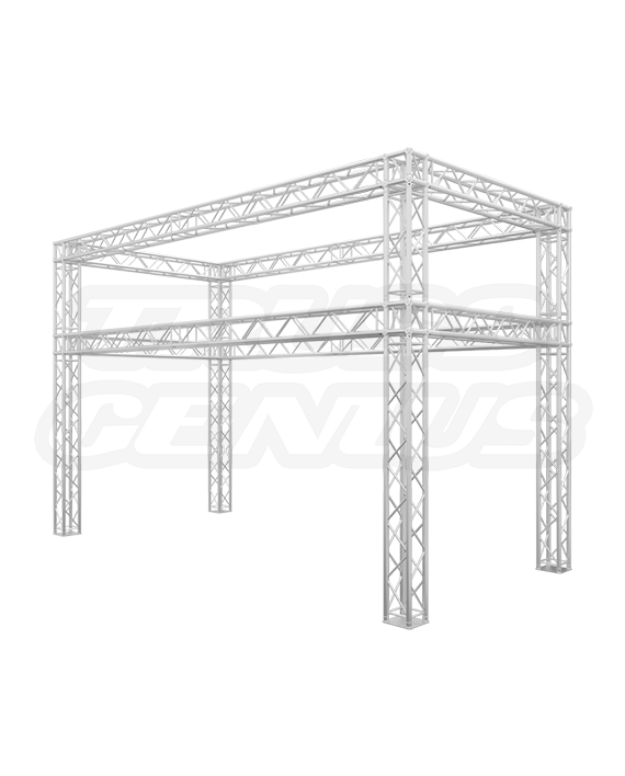 10' x 20' Truss Trade Show Booth with Banner Opening - Re-Configurable F34 Square Truss Kit