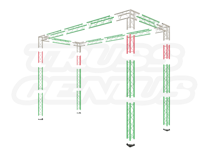 13x6 Truss Trade Show Booth Complete Kit With Collapsible Container Exploded View