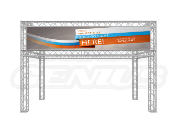 20-Foot Truss Trade Show Booth with Banner Openings Front View