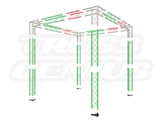 8X8 Truss Trade Show Booth Complete Kit With Collapsible Container Exploded View