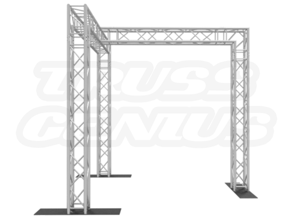 10-Foot Truss Goal Post with 3 Legs and Center Beam Side View