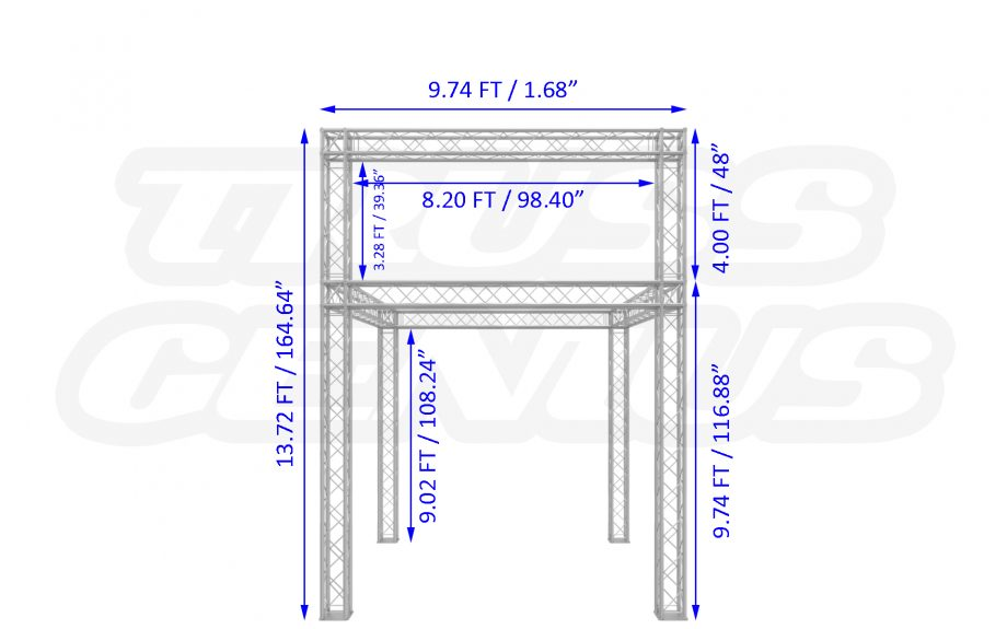 10x10 F24 Truss Trade Show Booth with Banner Option