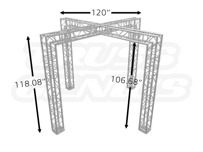 10x10 Trade Show Booth Crossover Truss Design Dimensions