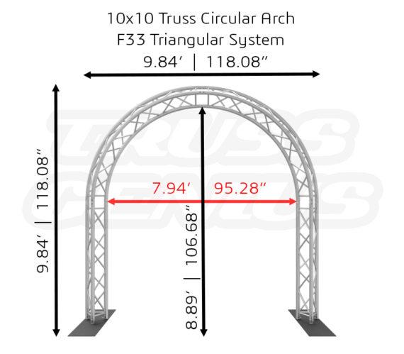 10x10 Truss Circular Arch F33 Triangular System Dimension
