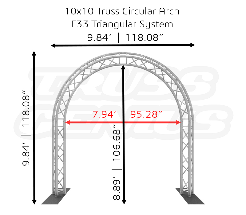 10x10 Truss Circular Arch F33 Triangular System Dimension