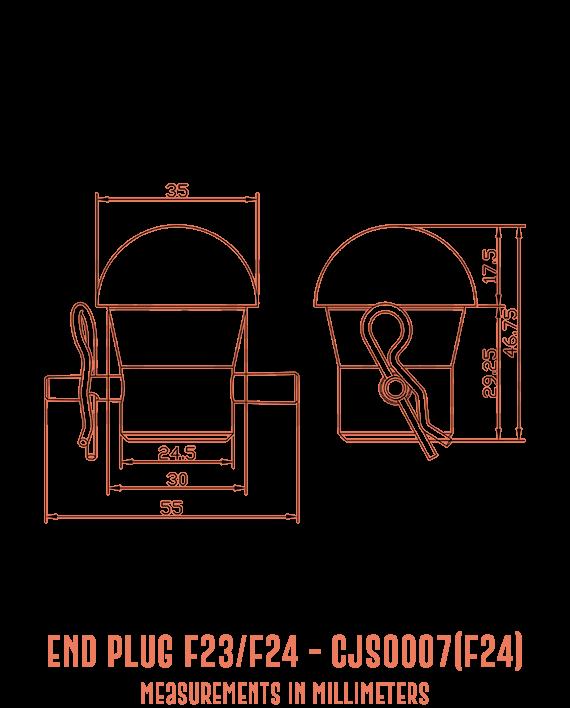 End Plug F23/F24 CJS0007(F24) Detailed Drawing