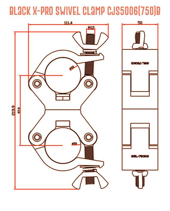 Black X-Pro Swivel Clamp CJS5006(750)B Detail Drawing