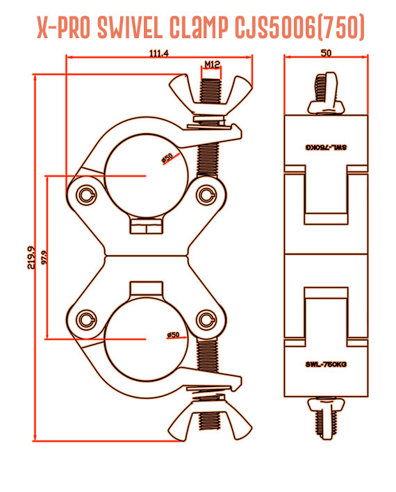 X-Pro Swivel Clamp CJS5006(750) Detail Drawing