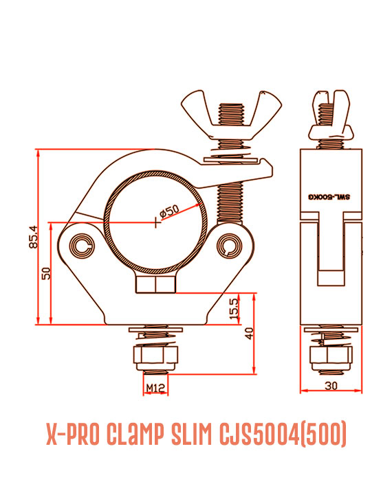 X-Pro Clamp Slim CJS5004(500) Detail Drawing
