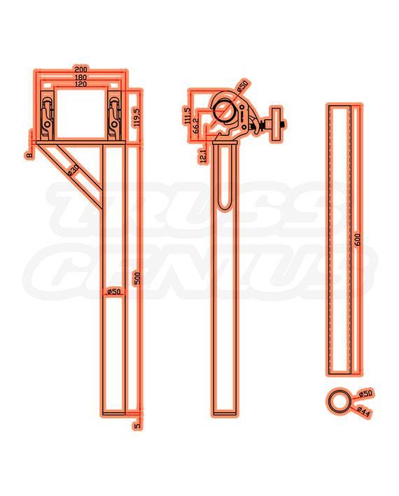 DT-HDQR Boom Arm Black Measurements