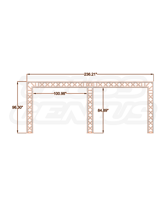 8x20 Tri-Post F34 Square Truss System with Dimensions