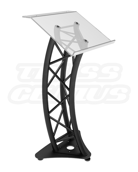 GT-Lectern Pro BLK - Global Truss Black Anodized Truss Podium with Plexiglass Top