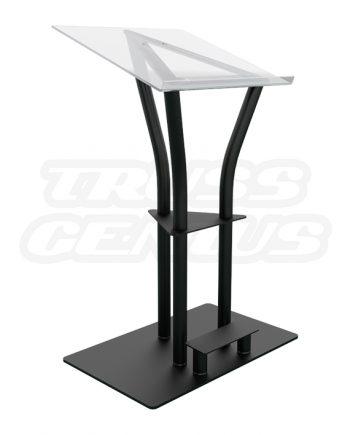 Ergo Acrylic Lectern | Black Anodized Aluminum Podium, Plexiglass Top
